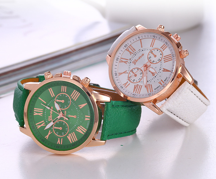 Geneva Women Watch Fake Three-eye PU Leather Belt Fashion Women's Quartz Wrist Watches Relogio Feminino Dropshipping
