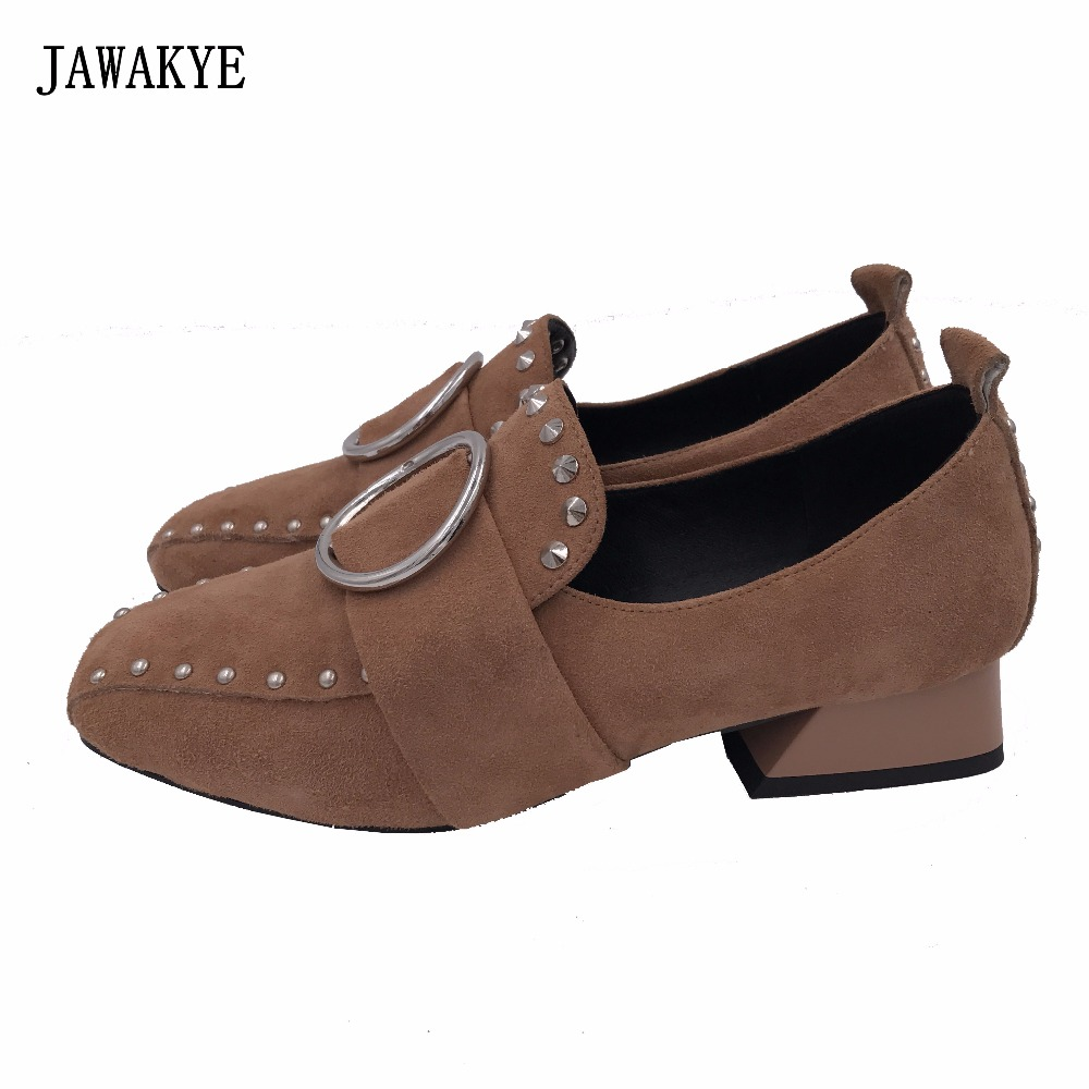 JAWAKYE Spring fall casual shoes rivets and metal ring decor square toe fashion low heels slip on lazy loafers shoes women idg brand women slip on high heels short rough with the fall and winter metal buckle rivets shoes woman zapatos mujer tacon