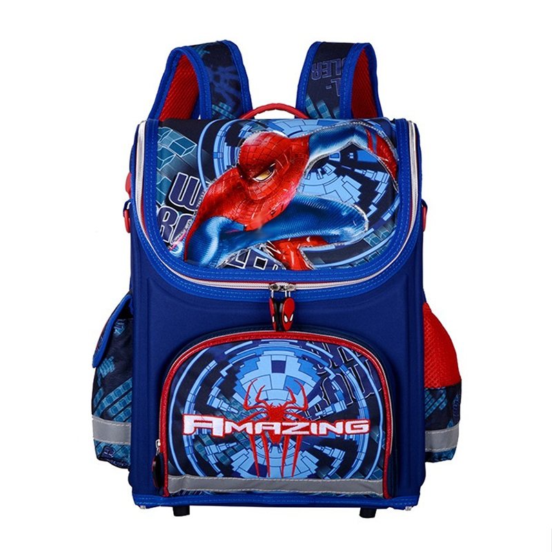 Delune 3D Print <font><b>Spiderman</b></font> Kids School Bags for Boys <font><b>Large</b></font> Capacity Waterproof Folded Character <font><b>Backpack</b></font> for Children Primary