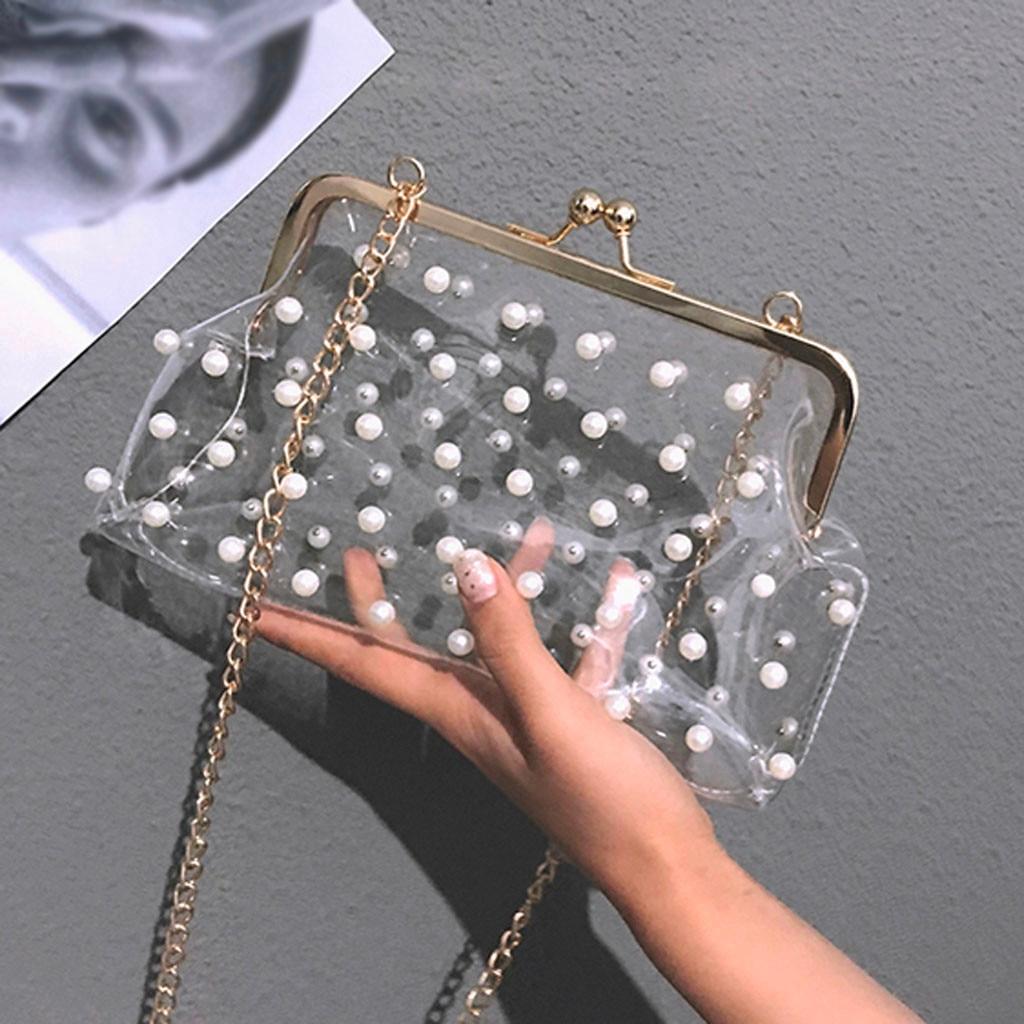 Shoulder Bag Handbag Package Transparent Diagonal Package with Beading bolsa feminina HW handbag