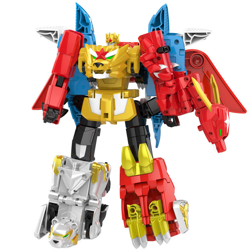 6 in 1 Megazord Action Figure Beast Movable Animal Robot Assembly Figure Assembled Dinosaur Ranger 5 in 1 assembly toys transformation robot dinosaur rangers megazord action figures kids christmas gifts