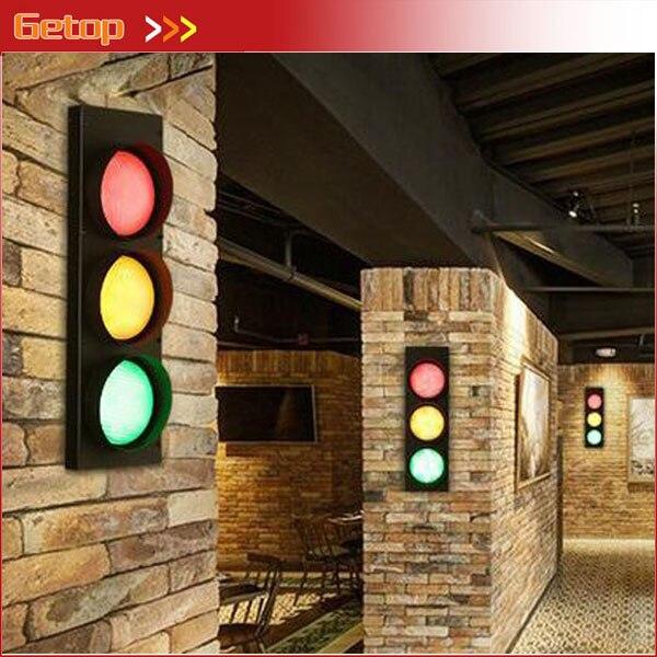 Creative LOFT Retro American Iron Wall Lamp For Corridor Creative Artistic Traffic Lights Warning Light for Bar Restaurant