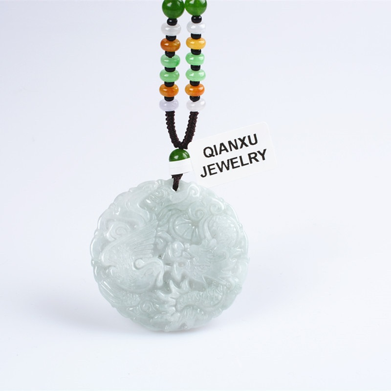 Fine Natural Jade Dragon Phoenix Necklace Pendant Hand-Carved Lucky Amulet