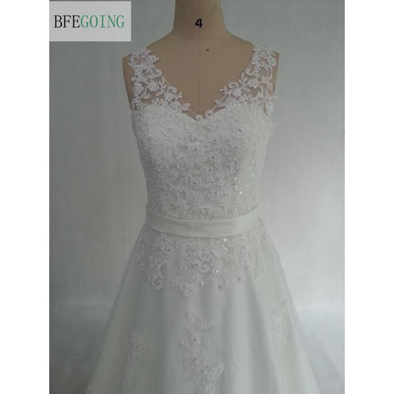 Ivory Lace Tulle V-Neck A-line Wedding dress Court Train  Floor-Length  Belt Bridal Dress Real /Original Photos Custom made