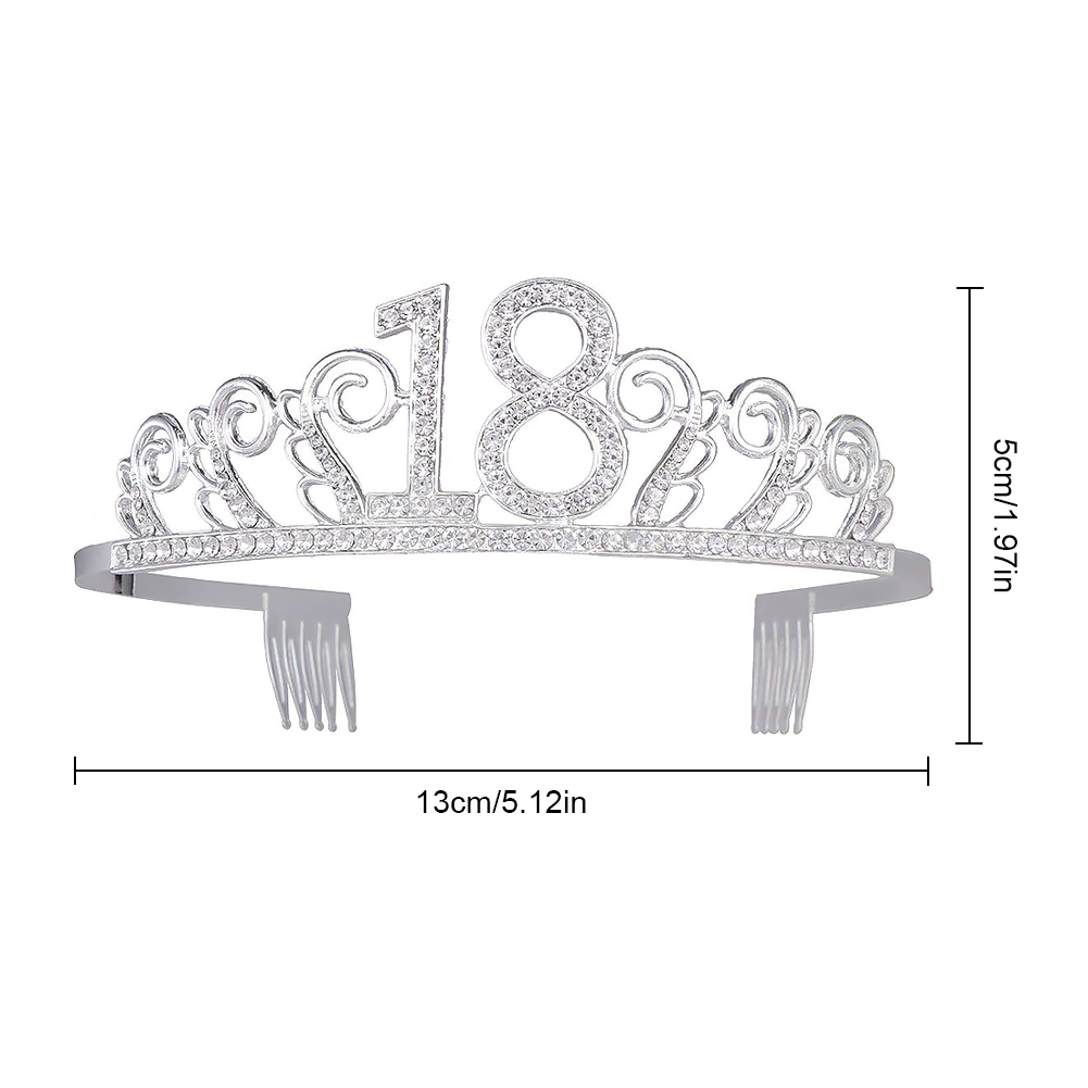 18 Years Old Birthday Crown Crystal Hairband Girl Tiara Princess Accessories