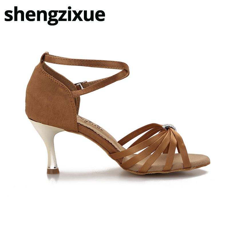 shengzixue New Arrival Ballroom Latin Dance Shoes Classic 5 Straps With  Rhinestone Button 7.5CM Golden Heel For Women ee546246f93a