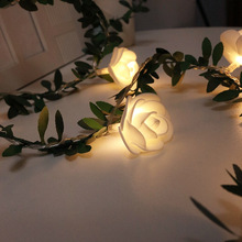 10/20/40leds Rose Flower led Fairy String Lights Battery Powered Wedding Valentine's Day Event Party Garland Decor Luminaria