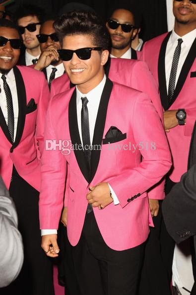 Custom Made Pink Jacket Black Pants Groom Tuxedos Shawl Collar Man Suit Groomsman Bridegroom Wedding