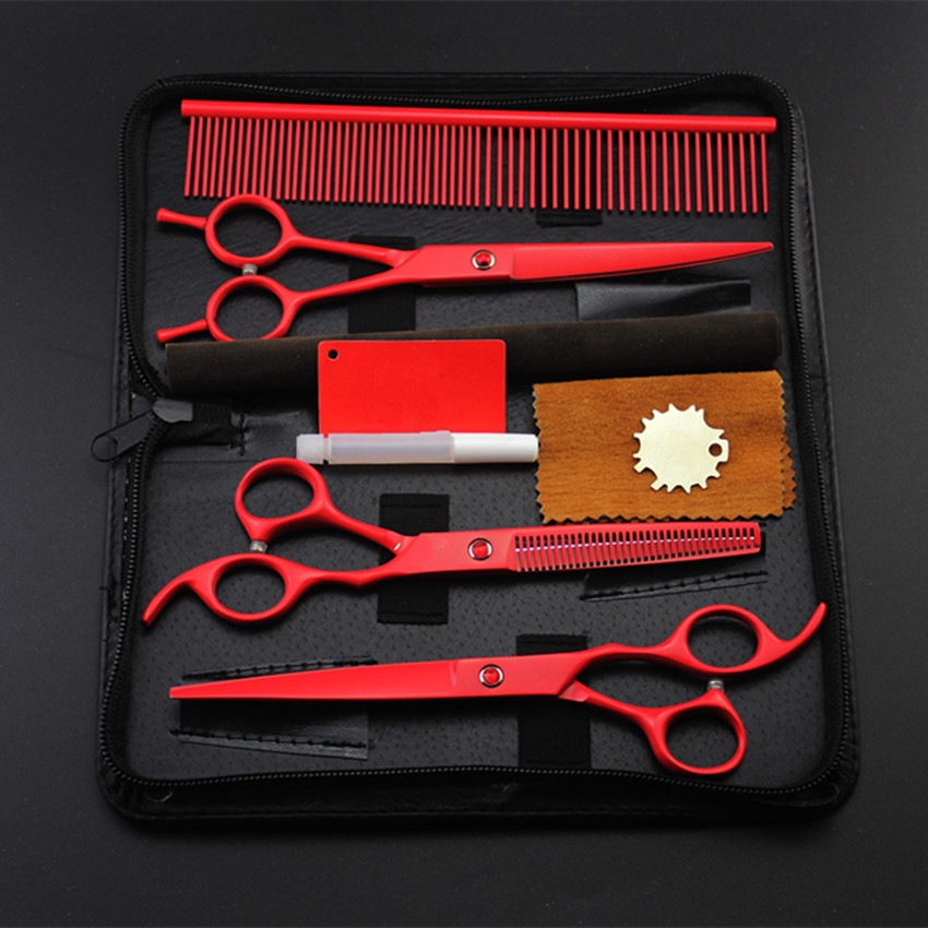 4 kit professional japan red pet 7 inch shears dog grooming hair scissors cutting thinning scissor barber hairdressing scissors4 kit professional japan red pet 7 inch shears dog grooming hair scissors cutting thinning scissor barber hairdressing scissors