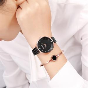 Image 3 - CURREN reloj con diamantes de imitación para mujer, pulsera de acero inoxidable, de cuarzo, femenino, 2018