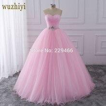 Wuzhiyi Бальные платья Розовое Бальное Платье vestidos de festa longo 15 anos сладкий 16 платье дебютантка платья для роста