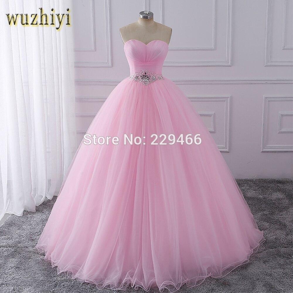 Wuzhiyi Quinceanera robes 2019 rose robe de bal vestidos de festa longo 15 anos doux 16 robe robes de Debutante robe pour la croissance