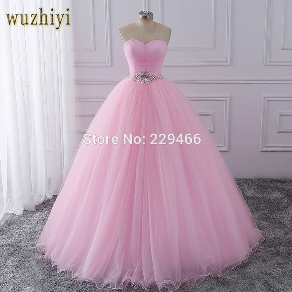 wuzhiyi Quinceanera Dresses 2019 Pink Ball Gown vestidos de festa longo 15 anos Sweet 16 Dress Debutante Gowns Dress For Growth