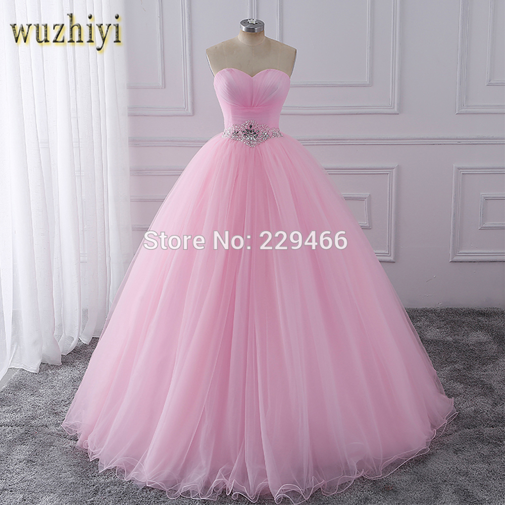 wuzhiyi Quinceanera Dresses 2018 Pink Ball Gown vestidos de festa longo 15 anos Sweet 16 Dress Debutante Gowns Dress For Growth