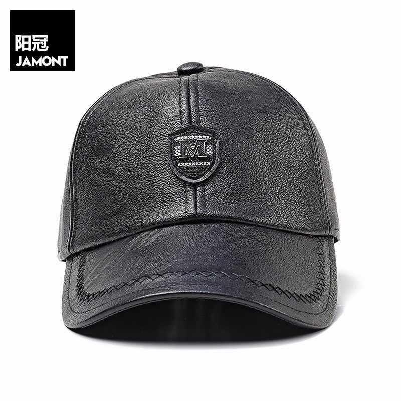 affdb3917 Adjustable PU Leather Baseball Caps for Men Solid Faux Leather Male Cap  Snapback Hat Black Brown Hip Hop Boy Spring Street Wear
