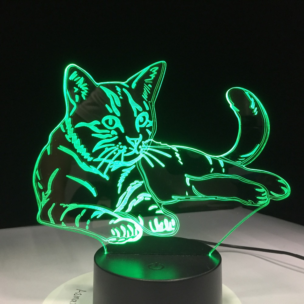 7 Colorful Cat 3d Lamp Acrylic Led Night Light Usb Touch