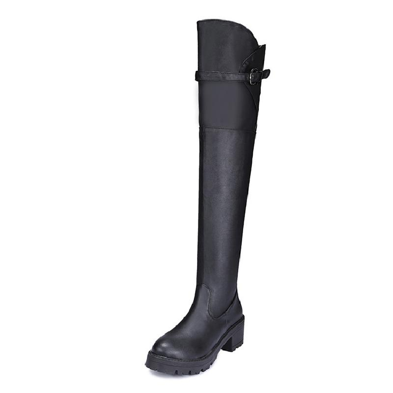 SALCXOI winter boots women riding equestrian shoes square heel black plus size over the knee boots woman  free shipping &X57-10