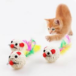 3 шт. Кошка Pet поймать звонкое игрушки сизаля Веревка ткань мяч тизер играть погремушка нуля любимая игрушка продукта Товары для кошек Лидер