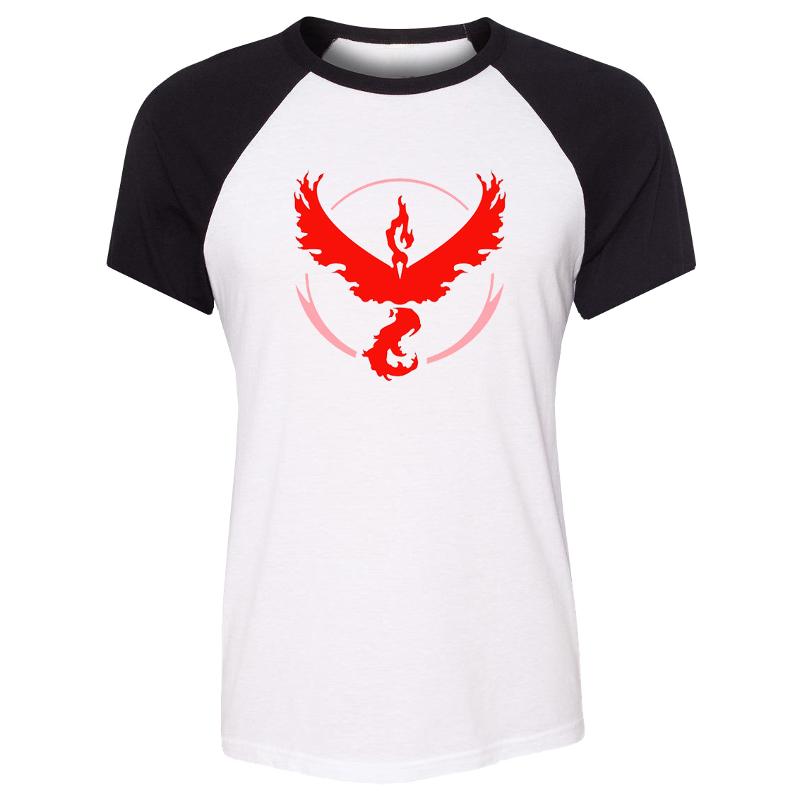 iDzn Summer T-shirt Pokemon Go Game Fans Moltres Team Red Team Art Pattern Raglan Short Sleeve Women T shirt Girl Print Tee Tops