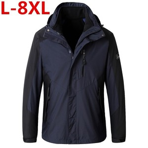 8XL de talla grande para hombre invierno 3 en 1 forro polar interno conjunto de 2 piezas chaquetas de exterior Cálido impermeable al aire libre deporte Trekking chaqueta