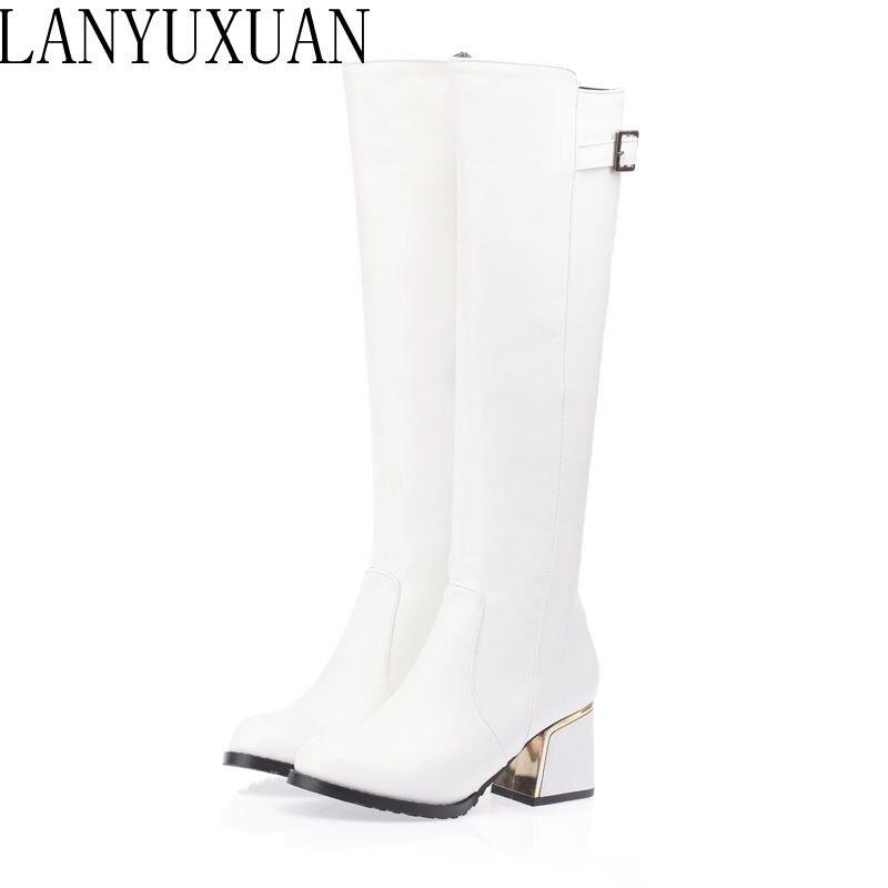 54 Hiver blanc Botas Automne Femmes Et Bottes Grande Nouvelle Hauts Mujer Lanyuxuan Noir Taille Mode Talons A18 Femme 2017 apricot Vente Petite 30 Chaussures zUBxq8nHT