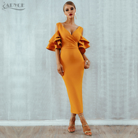 Adyce New Summer Women Club Dress Vestidos Verano 2019 Celebrity Party Dress Yellow Red Ruffle Butterfly Short Sleeve Midi Dress