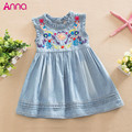 Girls Denim Dress 2016 Princess Dress embroidered Sleeveless high quality casual comfortable brand children's clothing Free ship