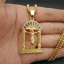 Ожерелье с распятием Иисуса и кулон на цепочке из нержавеющей