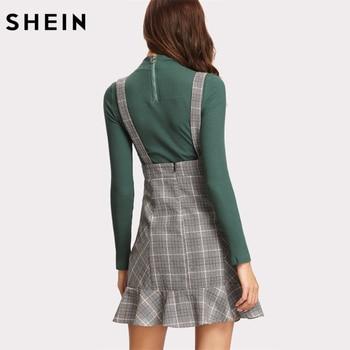 SHEIN Skirts Womens High Waist Woman Skirt Autumn Winter Lace Up Front Ruffle Hem Plaid Skirt Grey Zipper Back Sheath Skirt 1