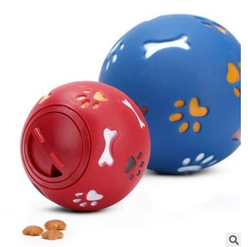 2 Size S/M 2 Colors Red/Blue Dog Toy Funny Squeaky Leakage Pick up Food Balls Pet Cat Treat Holder Puppy Chew Training Supplies
