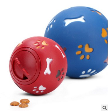 S/m 2 Colors Red/blue Dog Toy Funny Squeaky Leakage Pick Up Food Balls Pet Cat Treat Holder Puppy Chew Training Supplies