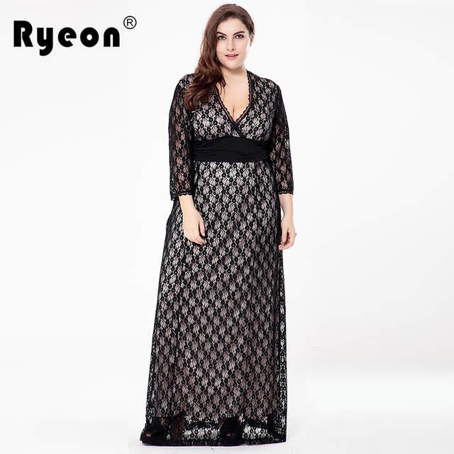 4bfa8bce50 Ryeon 2017 Maxi Vestido de Renda Mulheres Vestidos de Festa Túnica Plus Size  V Pescoço Preto
