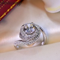 Choucong Women Fashion Jewelry Ring 2ct Simulated Diamond Cz 925 Sterling Silver Cross Engagement Wedding Band
