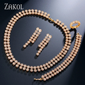 ZAKOL Noble Women Party Jewelry Dazzling Gold Plated Jewelry Sets With Round Cubic Zirconia simulated Diamond Surrounded FSSP239