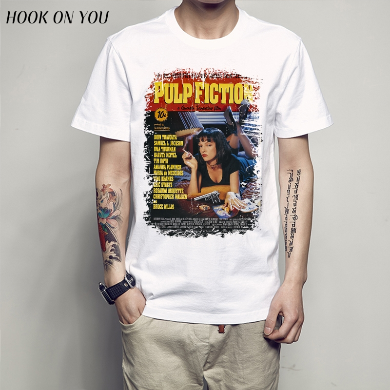 QUENTIN MOVIE Movie Pulp Fiction T-shirt Top Men T Shirt New Design High Quality Digital Inkjet Printing