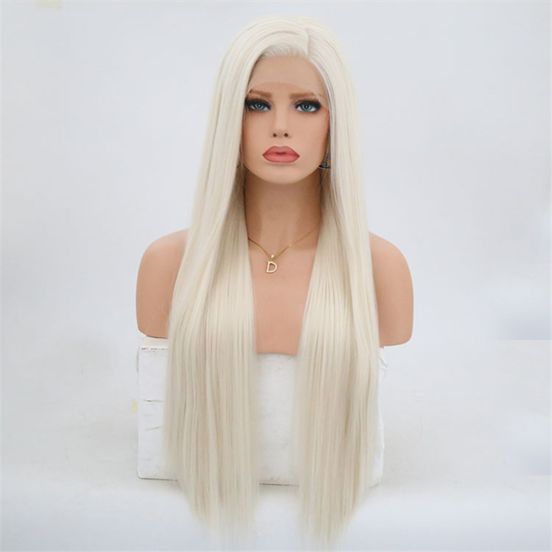 Image 2 - Rongduoyi #60 Platinum Blond Synthetic Lace Front Wigs For Women Silky Straight Side Part Heat Resistant Long Blonded Hair Wig-in Synthetic None-Lace  Wigs from Hair Extensions & Wigs