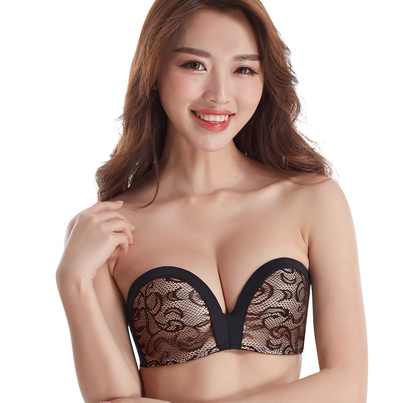 Fashion Strapless Seamless Invisible Bra 1/2 Cup big size super push Up bra palm massageSoft Women Lady wedding Dress bra