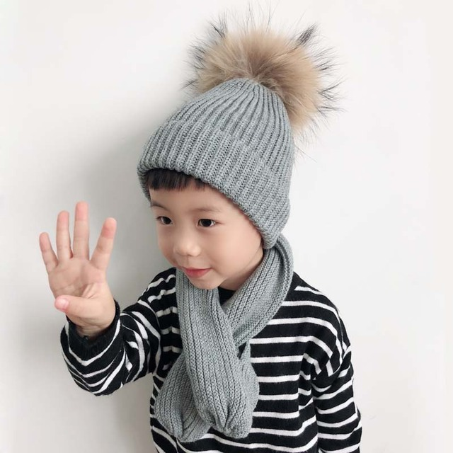 3837ccf2834 Kids Soft Core yarn Knitted Winter Beanie Hat For Girls Boys Real Raccoon  Fur pompom Hat And Scarf Set For Children