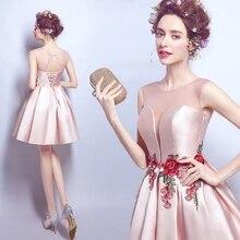 2016 neue Ankunft Rosa Scoop Neck Kurze Abendkleider Sleeveless mit Stickerei Graduation Cocktail Party Kleider vestido de festa