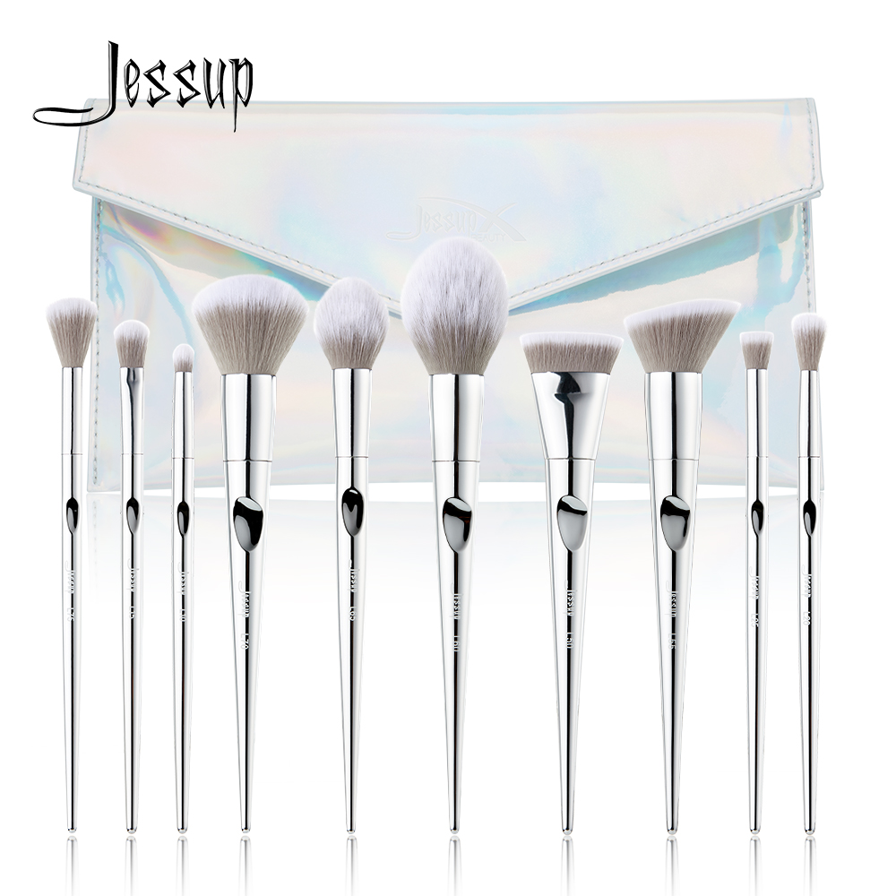 New Jessup 10pcs Makeup Brushes Set pincel maquiagem Fantasy Silver Powder eyelashes eyeshadow brushes T261 Cosmetic bag CB007New Jessup 10pcs Makeup Brushes Set pincel maquiagem Fantasy Silver Powder eyelashes eyeshadow brushes T261 Cosmetic bag CB007