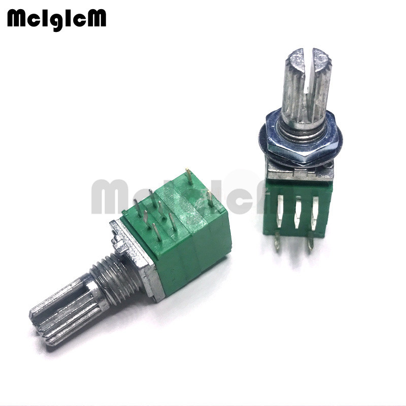 MCIGICM 100pcs 8pin RV097NS dual potentiometer B50K with switch audio power amplifier sealing potentiometer