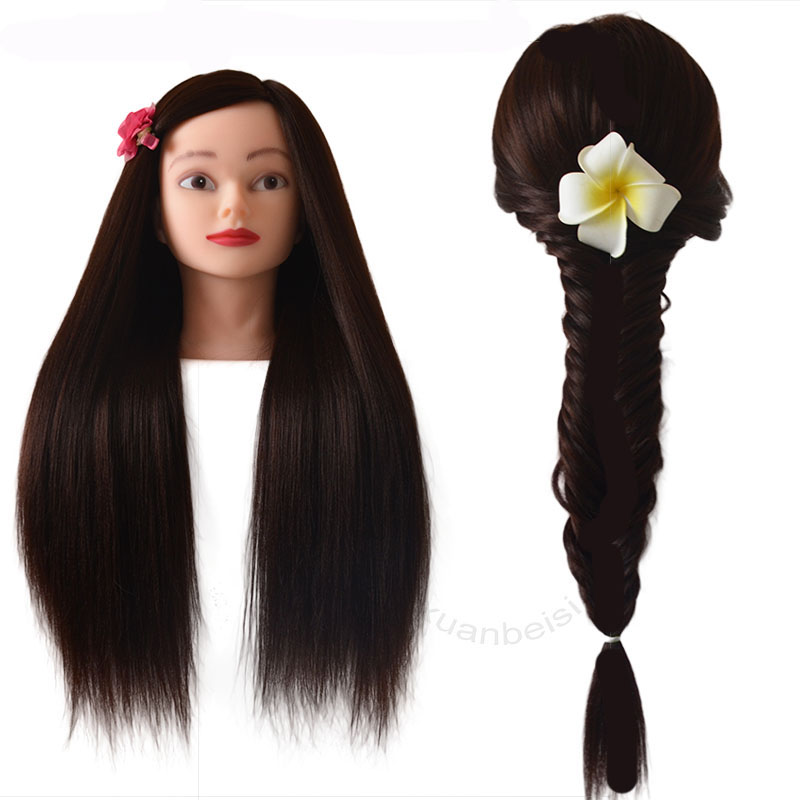 Dark Brown Synthetic Hair Head Mannequin With Free Tripod Good Manequim Nice Cabeza Maniqui Hairdressers With Her Head For Braid