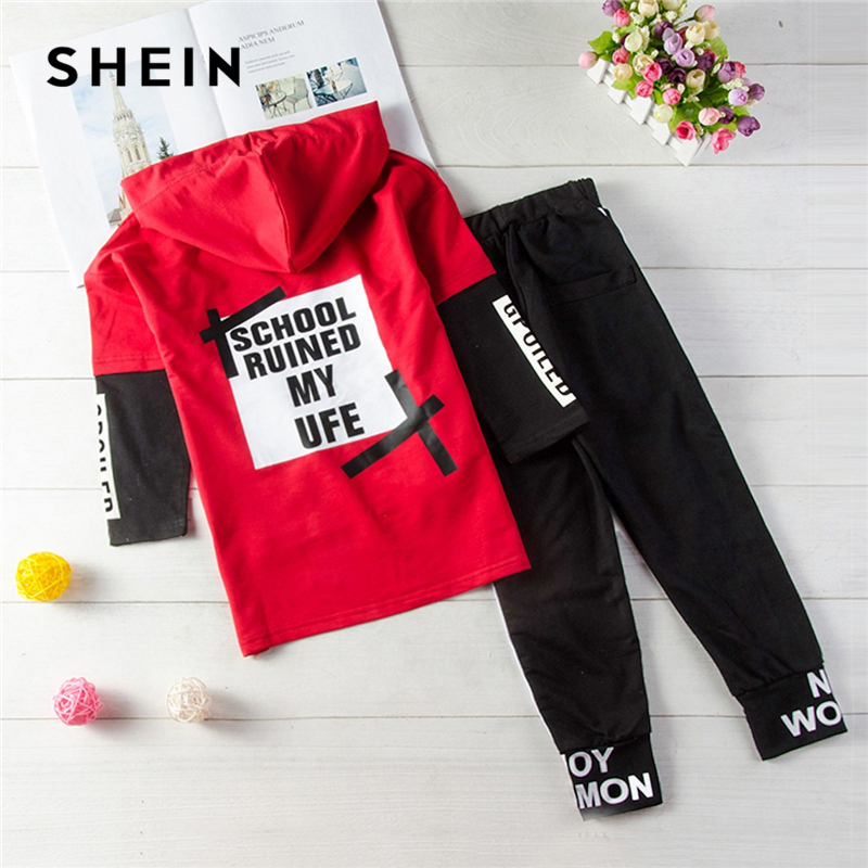 SHEIN Kiddie Toddler Boys Letter Print Drawstring Dip Hem Hoodie And Pants Sets Clothing 2019 Spring Long Sleeve Casual Suit new 2017 brand spring autumn baby boys clothing sets fashion coat and pants boys clothes letters printed sport suits