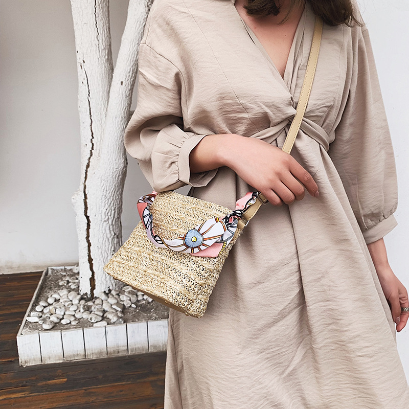 CUMYKA Straw Bag For Women New Small Hand woven Scarves Handbag Mini Flap Shoulder Weave Crossbody Bags Ladies Beach Bag in Shoulder Bags from Luggage Bags