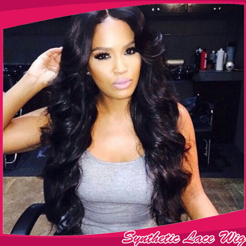 #1B Color Synthetic Lace Front Wig Body Wave Cheap Long Wavy Full Head Wigs For Africa Black Women Factory Price