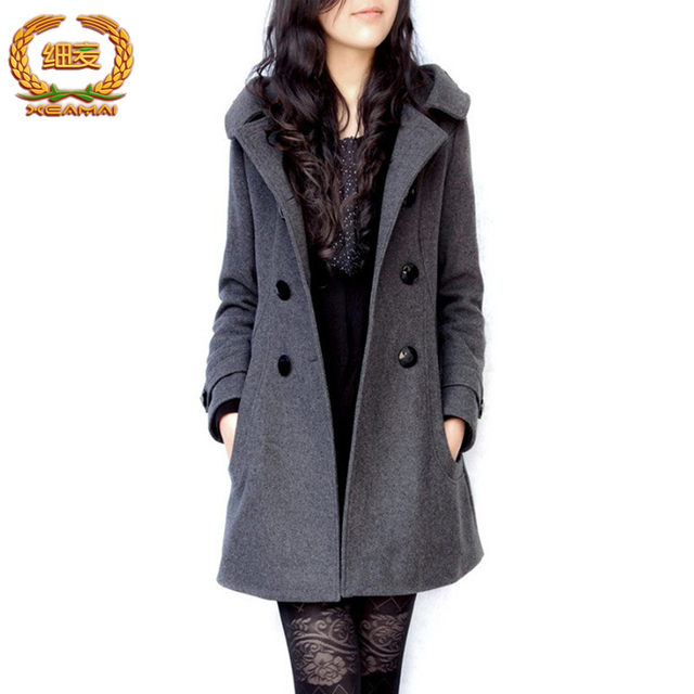 Winter jacket women Coat Casaco Feminino Sobretudo Femininos De Inverno Black Woolen Trench Coat Women Jacket Warm Overcoat 1