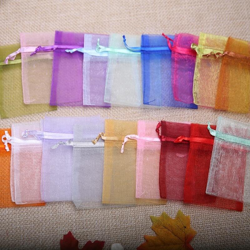 7 5 10cm 20pcs lot Green Multicolor Organza Jewelry Gift Bags Cheap Small Drawstring Bag Wedding