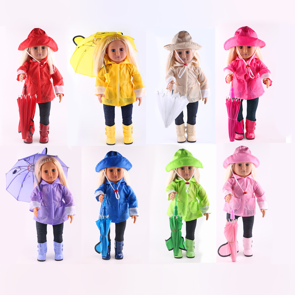 Waterproof Doll Clothes Raincoat Pants Boots Hat Umbrella Set for 18'' American Girl/ 43-45cm Zapf Baby Born Dolls Accessories fashion t shirt tie pants sneakers clothes for dolls 18 inch 45cm american girl and zapf baby born doll accessories