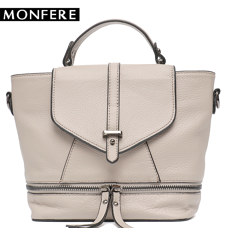 MONFERE Fashion Women's Leather Bag Small Crossbody Bags Girl Cute Backpack School Female Cover Flap Women Bucket Shoulder Bag hot sale women s backpack the oil wax of cowhide leather backpack women casual gentlewoman small bags genuine leather school bag