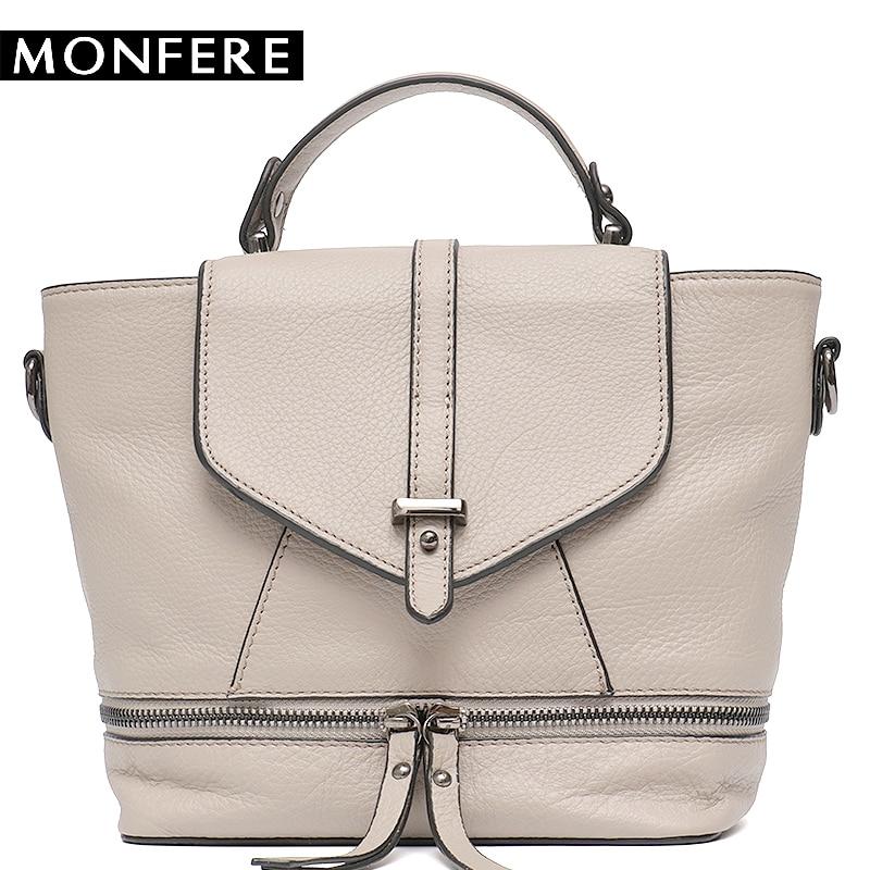 MONFERE Fashion Women's Leather Bag Small Crossbody Bags Girl Cute Backpack School Female Cover Flap Women Bucket Shoulder Bag